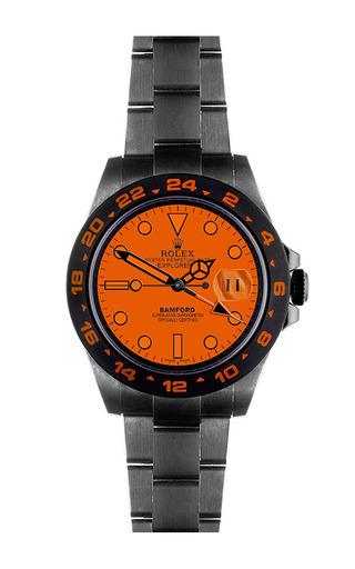 Explorer ii scuba with bwd orange dial by BAMFORD WATCH DEPARTMENT for Preorder on Moda Operandi