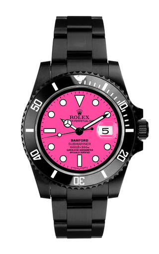 Black Submariner With Neon Pink Dial by Bamford Watch Department for Preorder on Moda Operandi