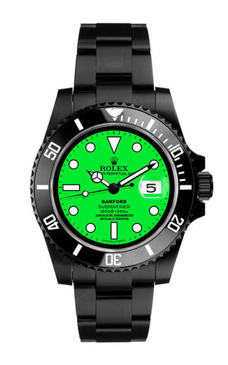 Black Submariner With Neon Green Dial by BAMFORD WATCH DEPARTMENT for Preorder on Moda Operandi