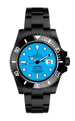Black submariner with neon blue dial by BAMFORD WATCH DEPARTMENT for Preorder on Moda Operandi