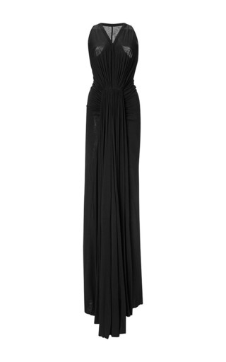 Draped viscose black maxi dress by RICK OWENS LILIES Now Available on Moda Operandi