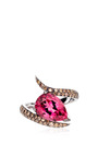 Shaun Leane - White Gold Ring With Pear Shaped Pink Tormaline And Brown Diamonds