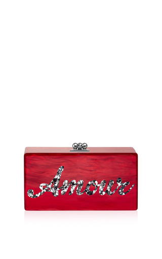 Customizable Jean Clutch In Red Pearlescent And Silver Confetti Type by Edie Parker for Preorder on Moda Operandi