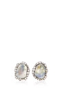 Kimberly McDonald - One Of A Kind Translucent Blue Geode And Irregular Diamond Stud Earrings