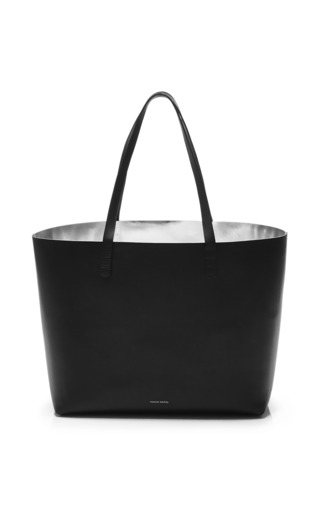 Large coated leather tote in black with silver interior by MANSUR GAVRIEL Available Now on Moda Operandi