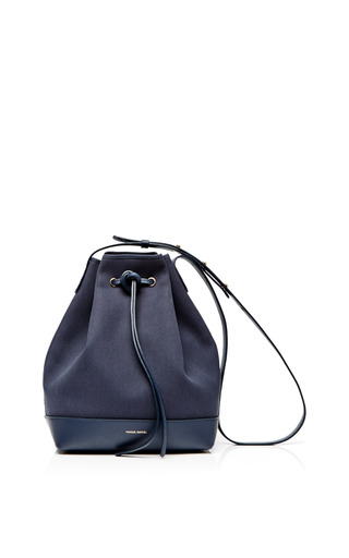 Canvas bucket bag in blu with creme interior by MANSUR GAVRIEL Available Now on Moda Operandi