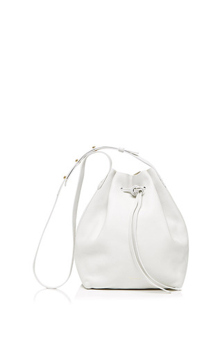 Tumble leather bucket bag in white by MANSUR GAVRIEL Available Now on Moda Operandi