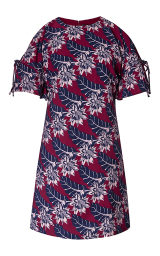 Tahitian floral mini dress with shoulder cut-outs by THAKOON Now Available on Moda Operandi