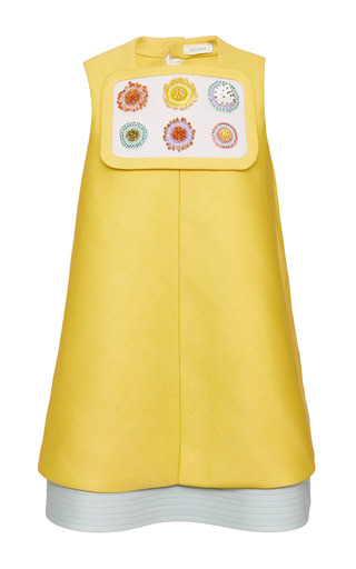 Burnt yellow double-sided silk twill dress by DELPOZO Now Available on Moda Operandi
