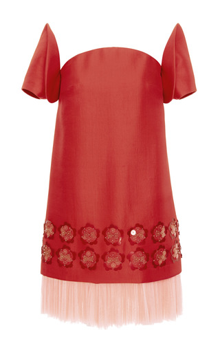 Embellished washed twill dress by DELPOZO Available Now on Moda Operandi