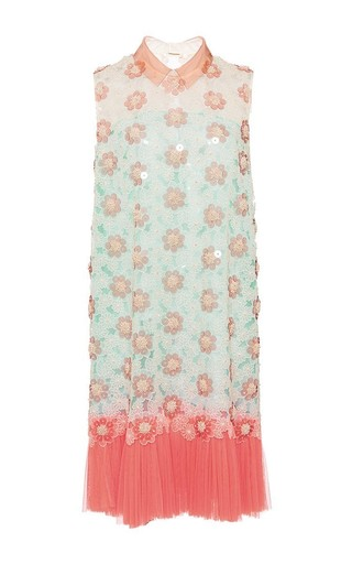 Embroidered silk organza sleeveless dress by DELPOZO Available Now on Moda Operandi