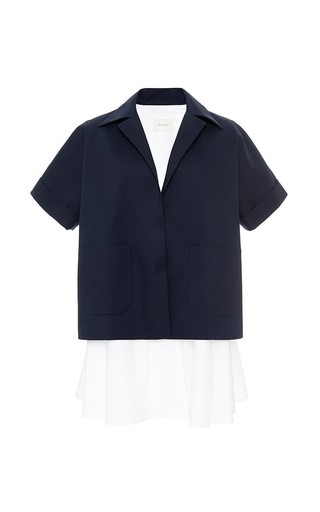 Navy double poplin coat by DELPOZO Available Now on Moda Operandi