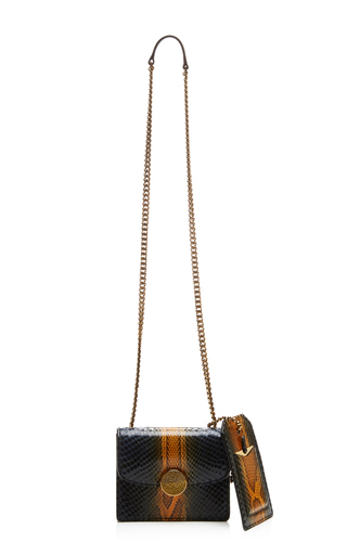Mini trouble bag in navy and amber python by MARC JACOBS Now Available on Moda Operandi