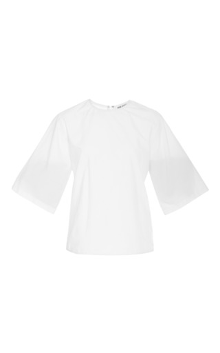 Rosie assoulin fine cotton poplin high neck tee in white by ROSIE ASSOULIN Now Available on Moda Operandi