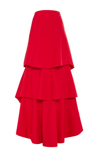 Raspberry cotton tiered hummingbird skirt by ROSIE ASSOULIN Now Available on Moda Operandi