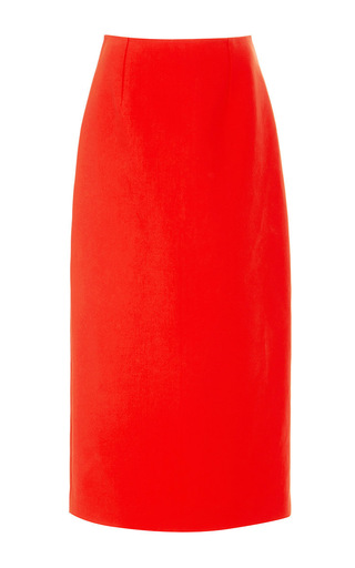 Cherry double faced cotton pencil skirt by ROSIE ASSOULIN Available Now on Moda Operandi