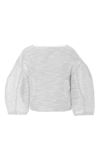 Boatneck striped cotton tulip top by ROSIE ASSOULIN Available Now on Moda Operandi