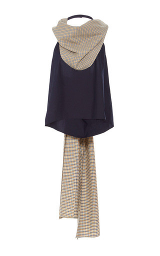 Cotton silk merino scarf neck halter top  by ROSIE ASSOULIN Now Available on Moda Operandi