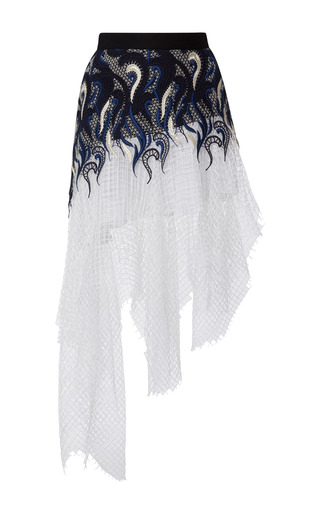 Navy, black, and silver embroidered lace skirt with white net overlay by RODARTE Now Available on Moda Operandi