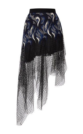 Navy, black, and silver embroidered lace skirt with black net overlay by RODARTE Now Available on Moda Operandi