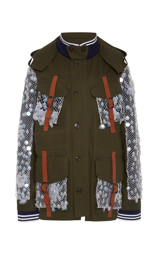 Olive canvas jacket with sequin mesh by RODARTE Available Now on Moda Operandi