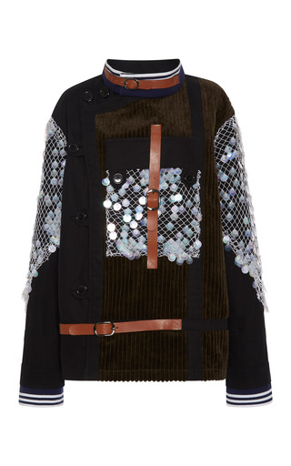 Olive corduroy and canvas one-pocket jacket with hand embroidered iridescent burnt edged paillettes by RODARTE Now Available on Moda Operandi