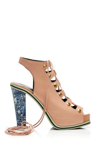 Embossed peach lizard leather lace up heel by RODARTE Now Available on Moda Operandi