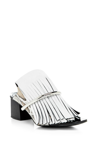 White fringe mules with nickle heels by PROENZA SCHOULER Available Now on Moda Operandi