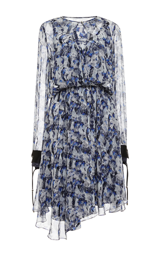 Asymmetrical printed chiffon keyhole dress by PRABAL GURUNG Available Now on Moda Operandi