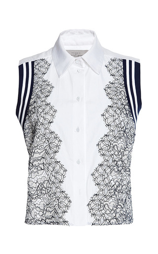 Cotton shirting and lace trevor by PREEN BY THORNTON BREGAZZI Available Now on Moda Operandi