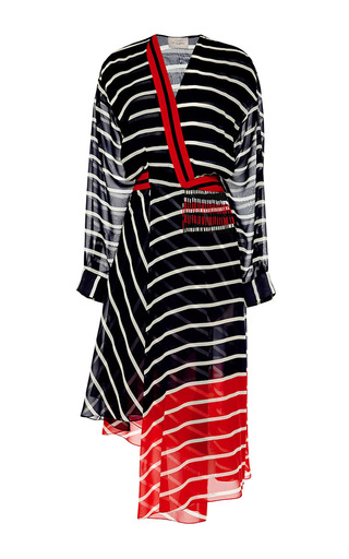 Striped silk georgette flintoff midi dress by PREEN BY THORNTON BREGAZZI Available Now on Moda Operandi