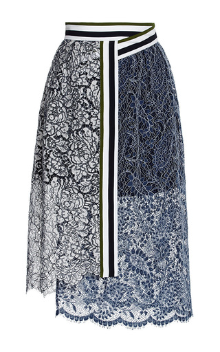 Lace amara skirt with stripes by PREEN BY THORNTON BREGAZZI Available Now on Moda Operandi