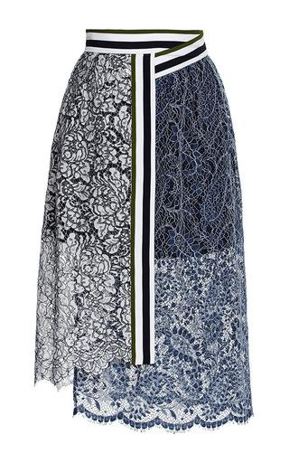 Lace amara skirt with stripes by PREEN BY THORNTON BREGAZZI Available Now on Moda Operandi