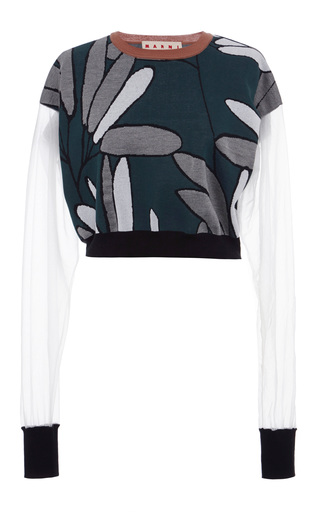 Jacquard candlestick crew neck sweater by MARNI Available Now on Moda Operandi