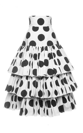 High waisted poplin tiered skirt in polka dot print by DOLCE & GABBANA Available Now on Moda Operandi