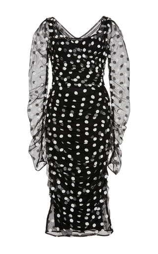 Polka dot embroidered tulle cocktail dress by DOLCE & GABBANA Now Available on Moda Operandi