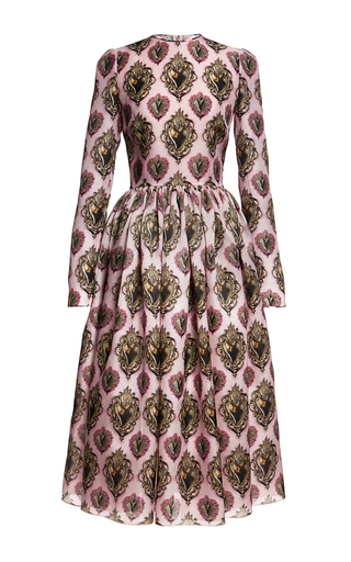 Sacred heart printed silk organza midi dress by DOLCE & GABBANA Available Now on Moda Operandi