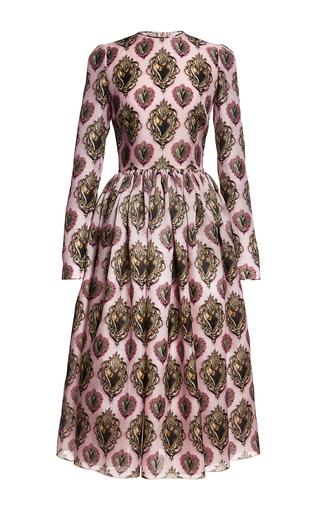 Sacred heart printed silk organza midi dress by DOLCE & GABBANA Available Now on Moda Operandi