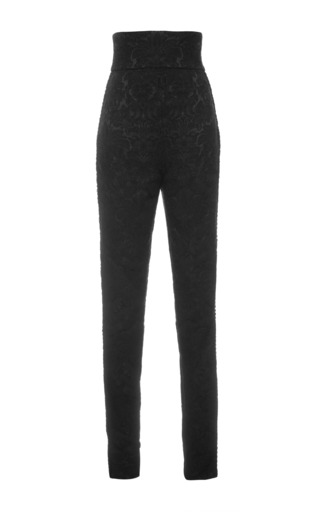 Nero floral jacquard high waisted black pants by DOLCE & GABBANA Available Now on Moda Operandi