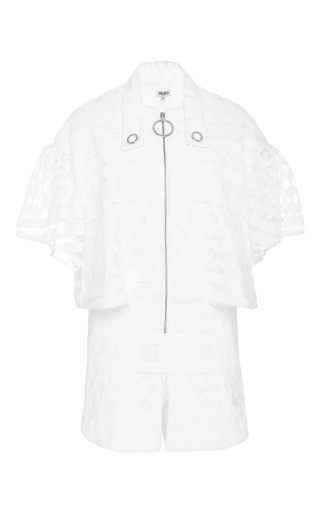 White graphic nett weave jumpsuit by KENZO Available Now on Moda Operandi
