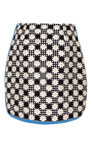 Floral grid betton mini skirt by MOTHER OF PEARL Now Available on Moda Operandi