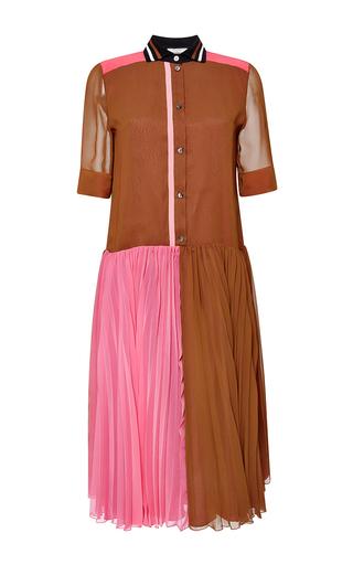 Pleated color block georgette dress by BOUCHRA JARRAR Available Now on Moda Operandi
