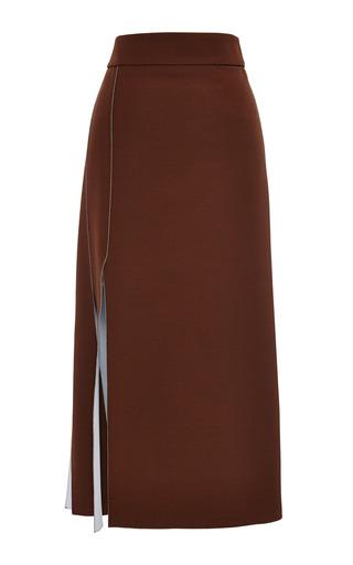 Chocolate nuage double face crepe skirt by NINA RICCI Now Available on Moda Operandi