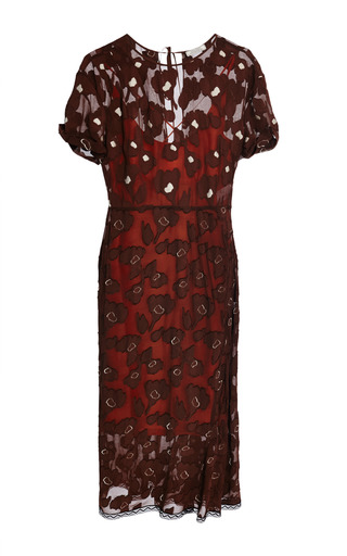Chocolat and natural floral fils coupes dress by NINA RICCI Now Available on Moda Operandi