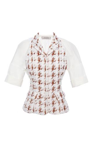 Chocolate and blanc maxi houndstooth jacket by NINA RICCI Now Available on Moda Operandi