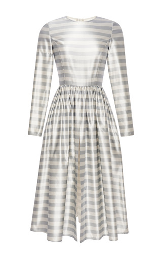Washed striped silk open front dress by KATIE ERMILIO Now Available on Moda Operandi