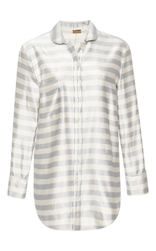 Striped luxe pajama top by KATIE ERMILIO Now Available on Moda Operandi
