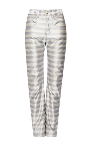 Striped satin jeans by KATIE ERMILIO Now Available on Moda Operandi