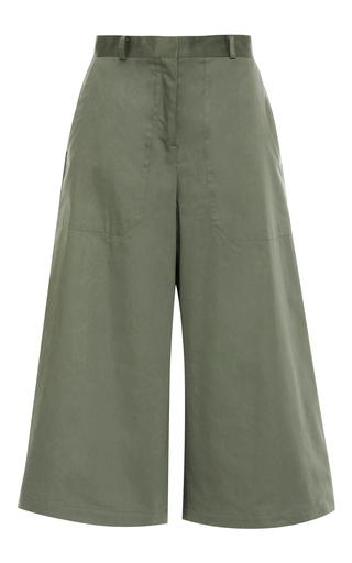 Green tara raso cotton short culottes by VILSHENKO Available Now on Moda Operandi