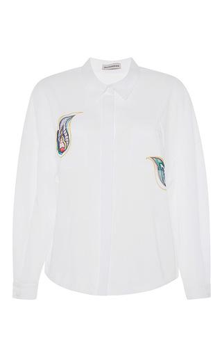 Paisley printed white blouse by VIKA GAZINSKAYA Available Now on Moda Operandi